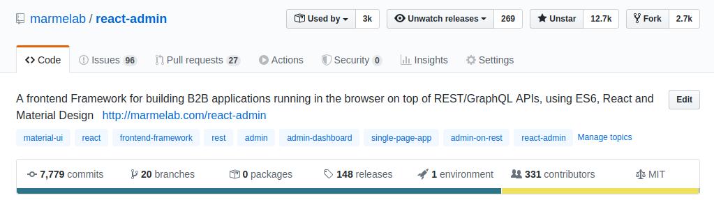 React-admin sur Github